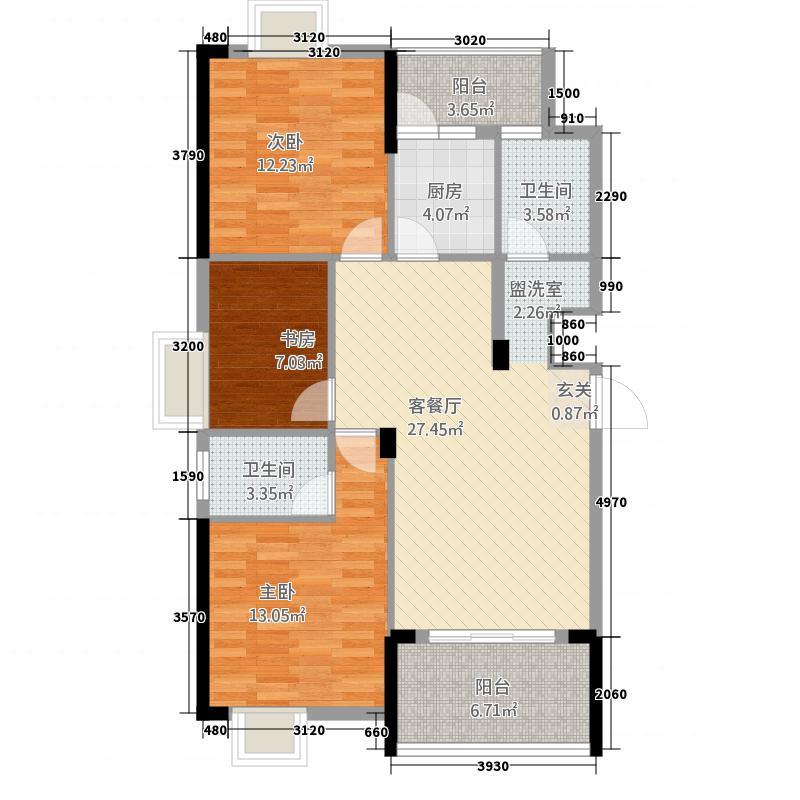 鑫泰学苑114.70㎡A-户型3室2厅2卫1厨