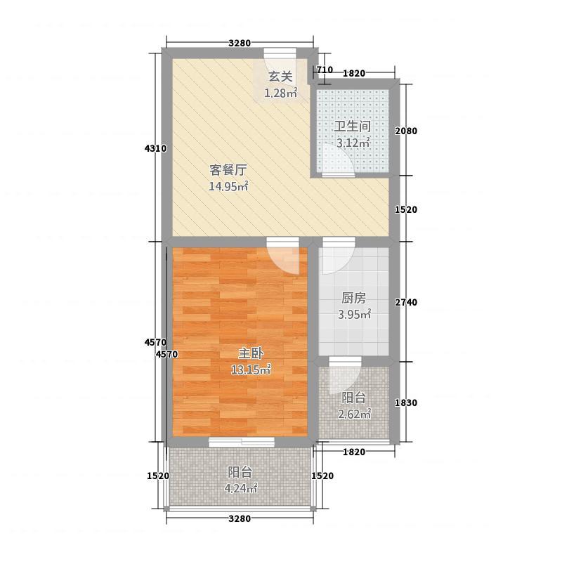 瀚林苑61.37㎡乙单元B户型1室1厅1卫
