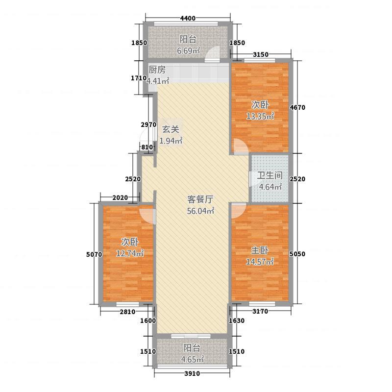 新都・绥园156.10㎡户型3室1厅1卫1厨