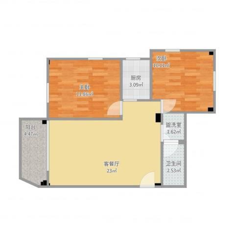 昌盛小区2室2厅1卫1厨77.00㎡户型图