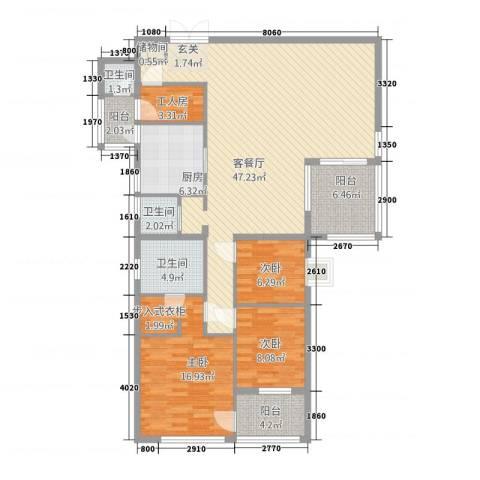 锦绣花园翡翠郡3室1厅3卫1厨155.00㎡户型图