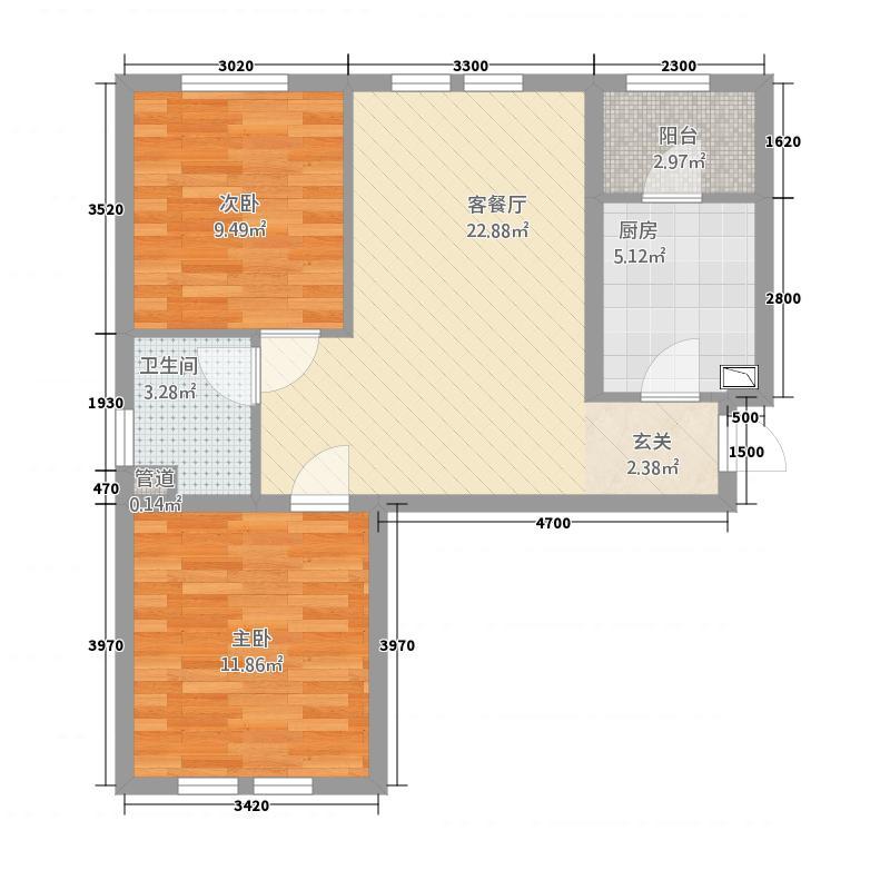 九鼎锦绣城72.33㎡D-1户型2室2厅1卫1厨
