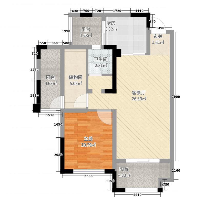 交投置地・上河湾8.86㎡E5户型2室2厅1卫1厨