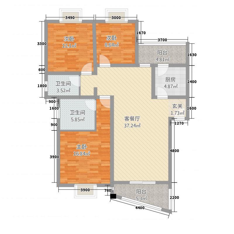 春晓华庭121.00㎡C型户型3室2厅2卫1厨