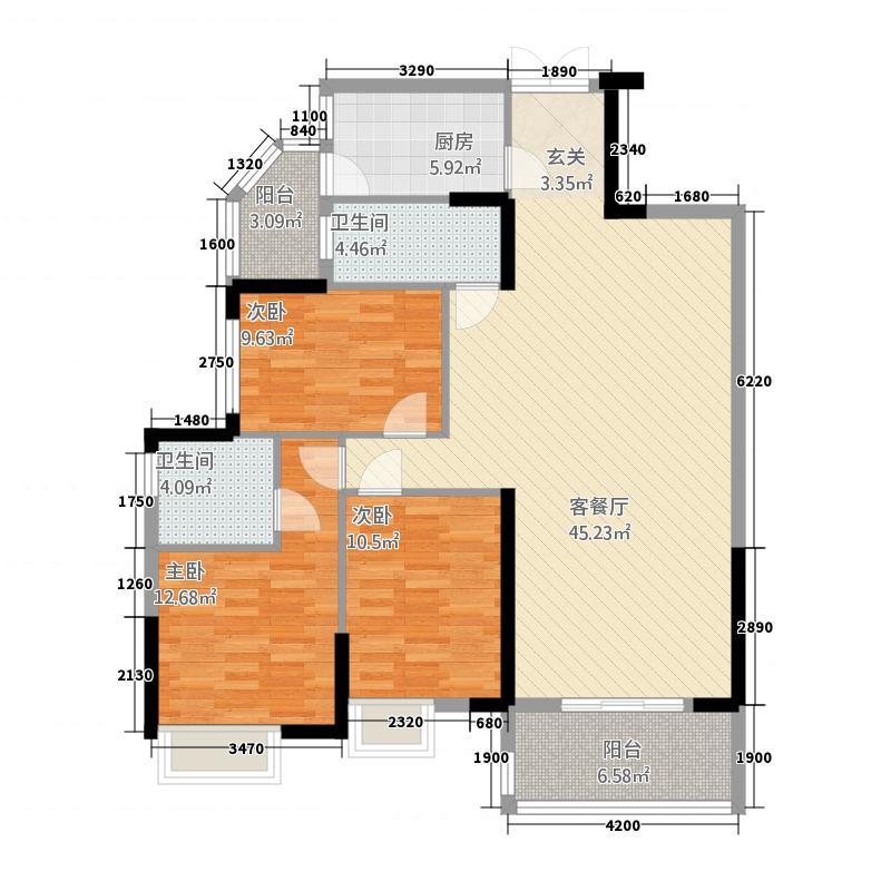 仁兴・城市花园138.00㎡2栋03-04户型3室2厅2卫1厨