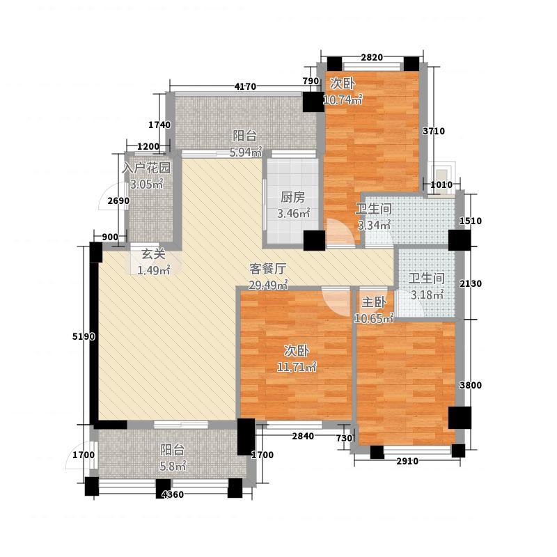 吉马凯滨大厦124.40㎡B户型3室2厅2卫1厨
