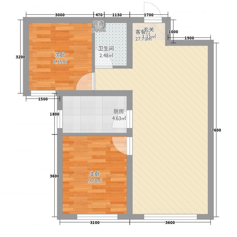 青福新城82.00㎡一期2#4#H4户型2室2厅1卫1厨