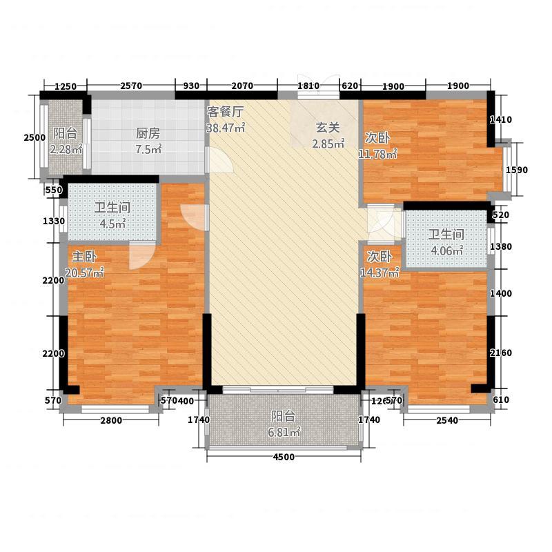仁兴・城市花园146.00㎡3B栋02户型3室2厅2卫1厨