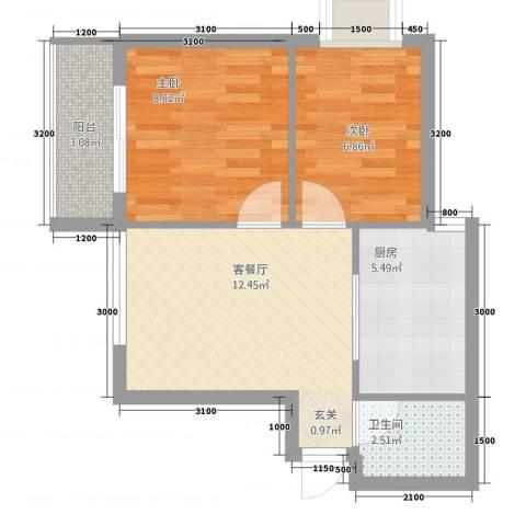 华信・海名轩2室1厅1卫1厨39.20㎡户型图