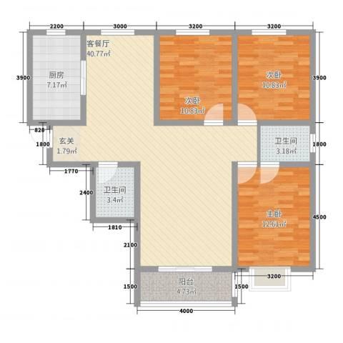 幸福里3室1厅2卫1厨127.00㎡户型图