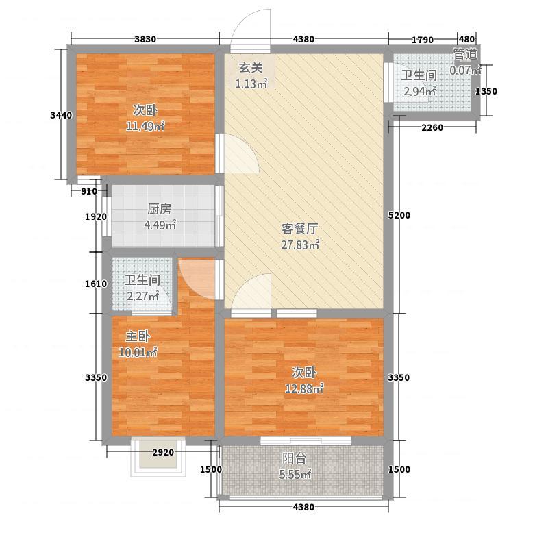 天意花苑3室1厅2卫1厨111.00㎡户型图