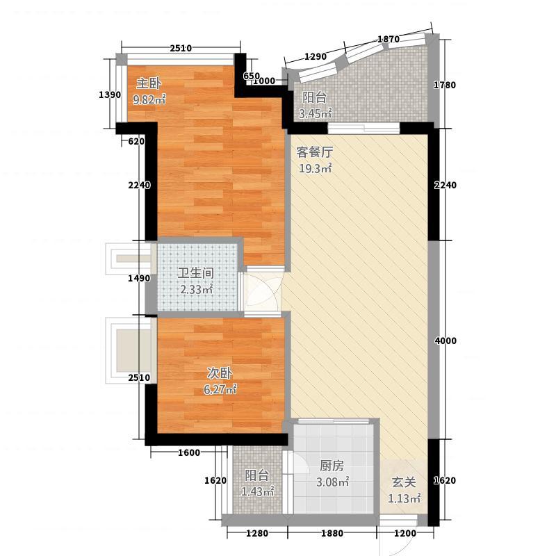 信义假日名城五期B区户型2室