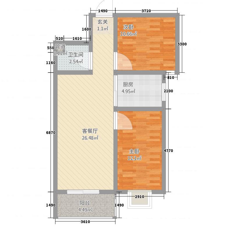 天意花苑2室1厅1卫1厨61.35㎡户型图