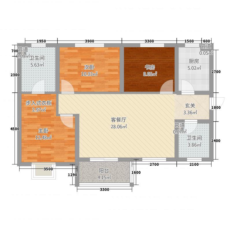 汇邦・中央公馆117.31㎡2号官邸B1户型3室2厅2卫1厨