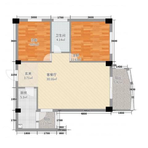 学府华庭2室1厅1卫1厨68.40㎡户型图