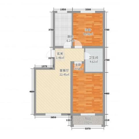 御泉苑新泉湾2室1厅1卫1厨89.00㎡户型图