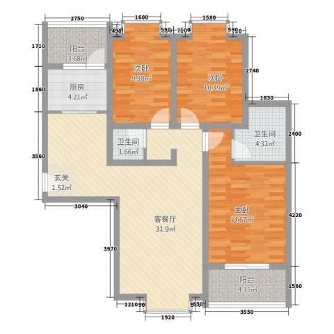 翰庭3室1厅2卫1厨123.00㎡户型图
