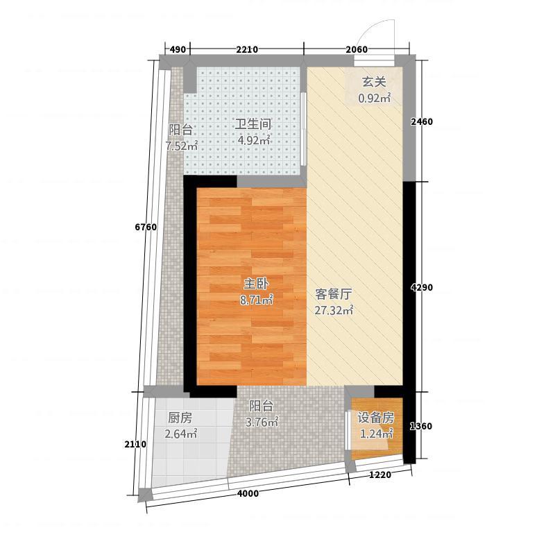 京投总部广场0室1厅0卫0厨52.00㎡户型图