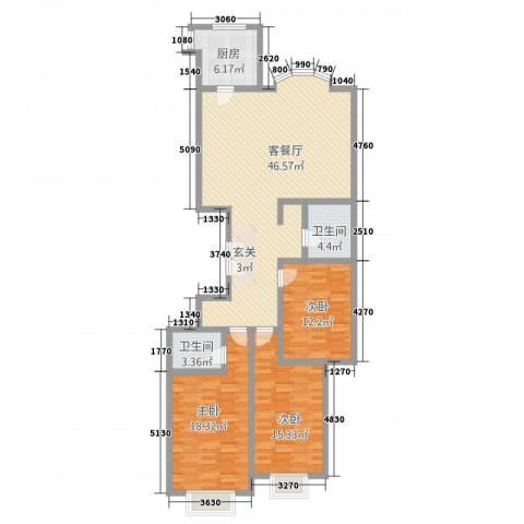 滨河27栋3室1厅2卫1厨152.00㎡户型图