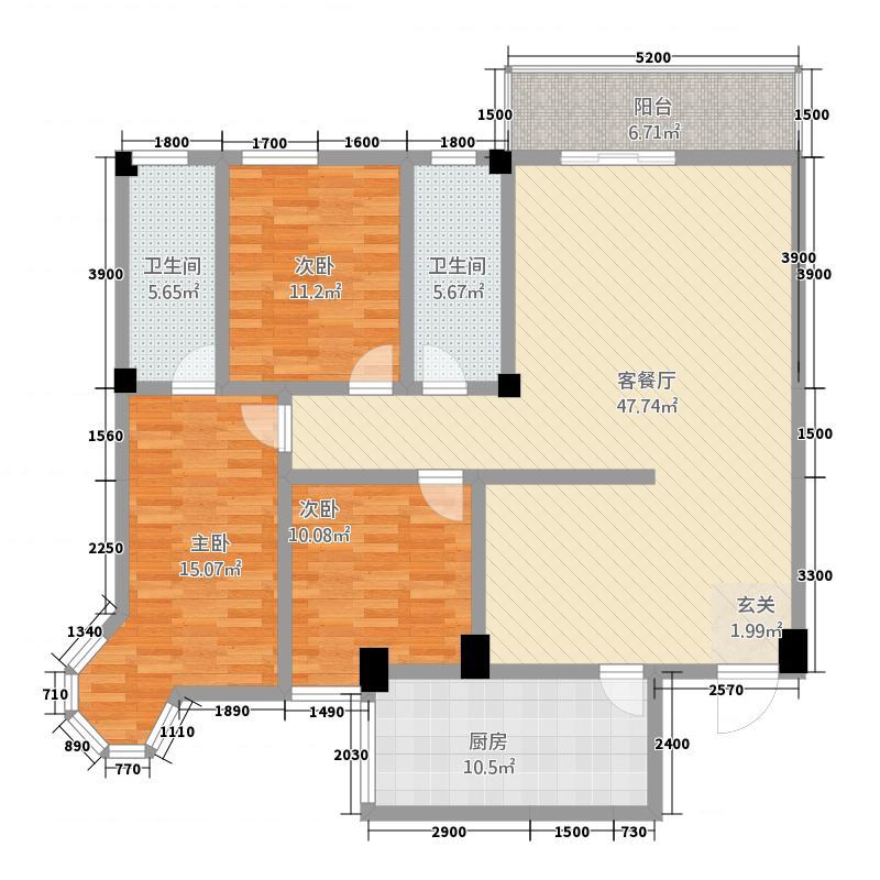 荆州花园二期A户型143-146平方米 3室2厅2卫1厨 143.00㎡