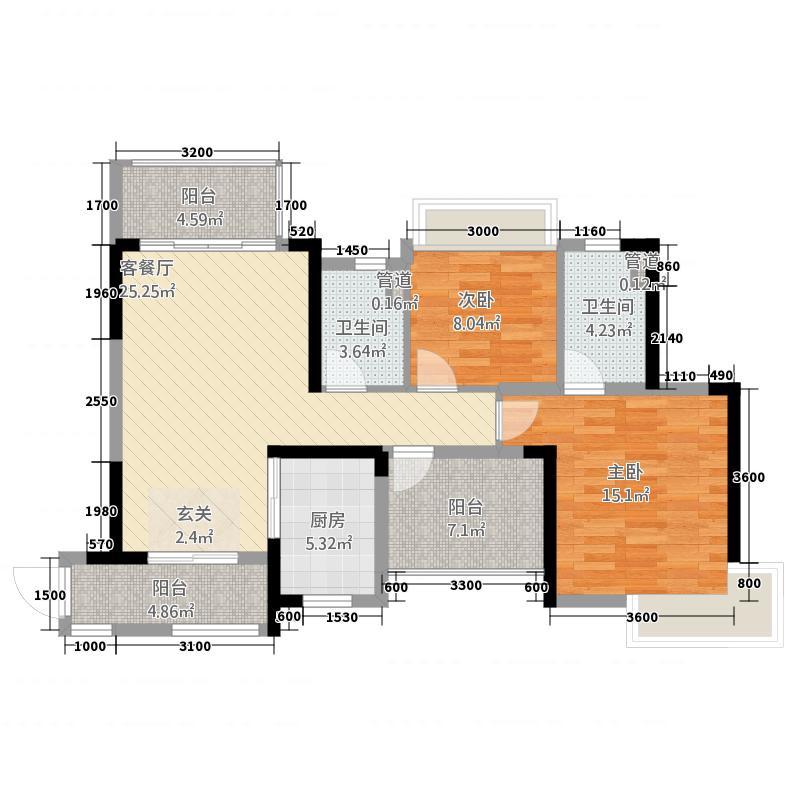 中交龙海名都一期7.00㎡8号楼0户型3室2厅2卫1厨