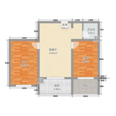 瑞锦东庭2室1厅1卫1厨94.00㎡户型图