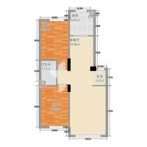 金港翠园2室1厅1卫1厨95.00㎡户型图
