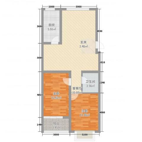 盛世家园2室1厅1卫1厨68.91㎡户型图
