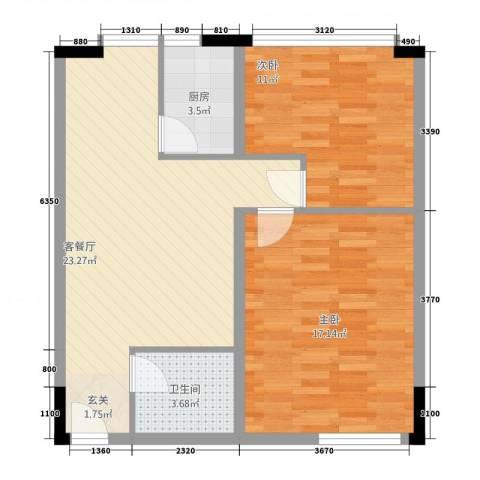五方校园广场2室1厅1卫1厨75.00㎡户型图