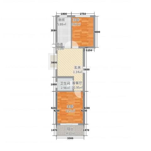 盛世家园2室1厅1卫1厨72.00㎡户型图