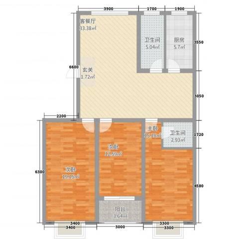 盛世家园3室1厅2卫1厨133.00㎡户型图