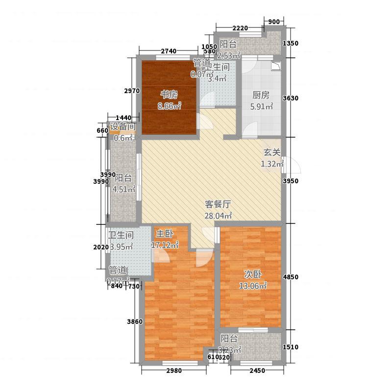 渤海华府133.00㎡A户型3室2厅2卫1厨