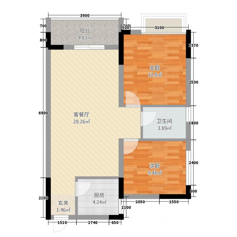 香泉公馆88.00㎡2户型2室2厅1卫