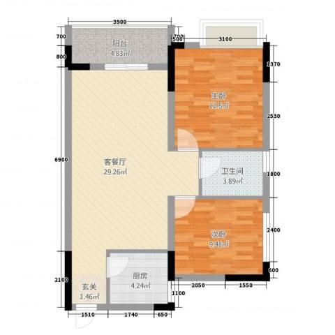香泉公馆2室1厅1卫1厨88.00㎡户型图