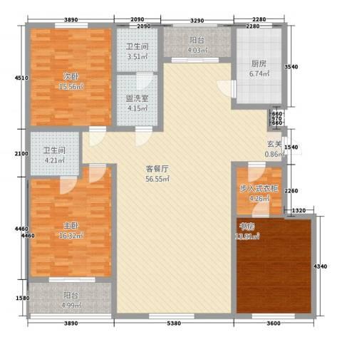 学府康城3室2厅2卫1厨134.23㎡户型图