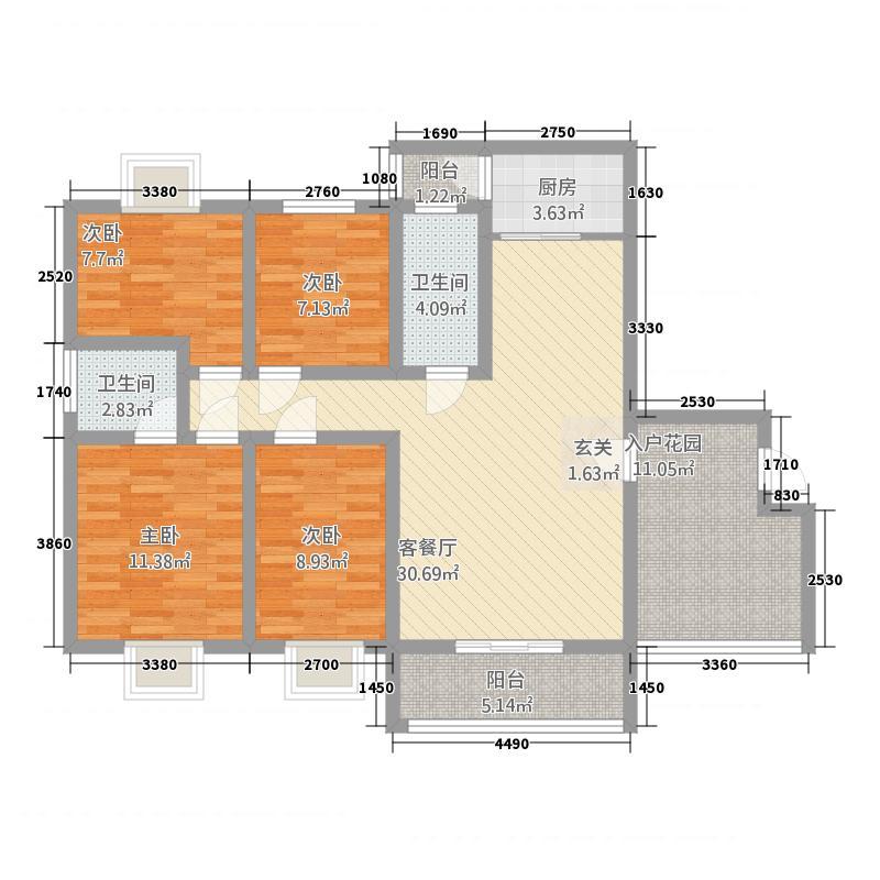 金澧明珠137.00㎡002户型4室2厅2卫1厨