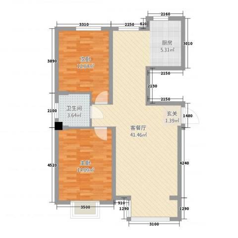 海园壹品2室1厅1卫0厨71.23㎡户型图