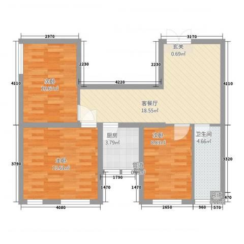 尚・海一品3室1厅1卫1厨87.00㎡户型图