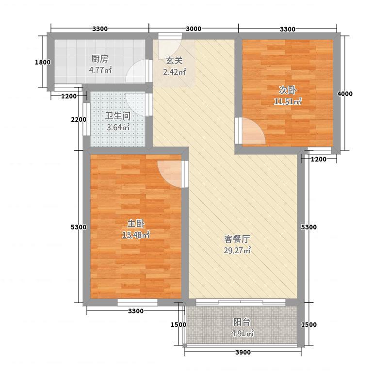 安陆太阳园86.70㎡B户型2室2厅1卫1厨