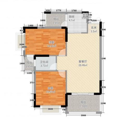 皇庭・御珑湾2室1厅1卫1厨215.00㎡户型图
