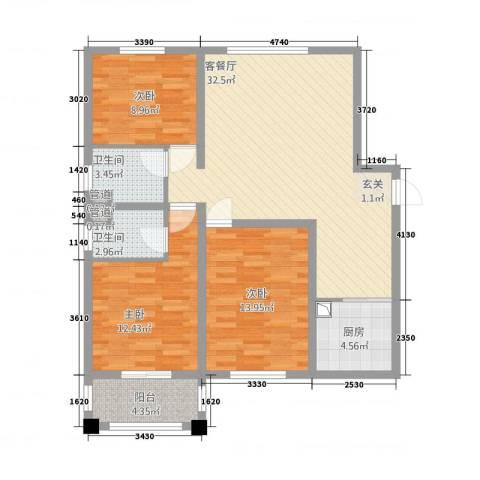 御秀园3室1厅2卫1厨83.63㎡户型图