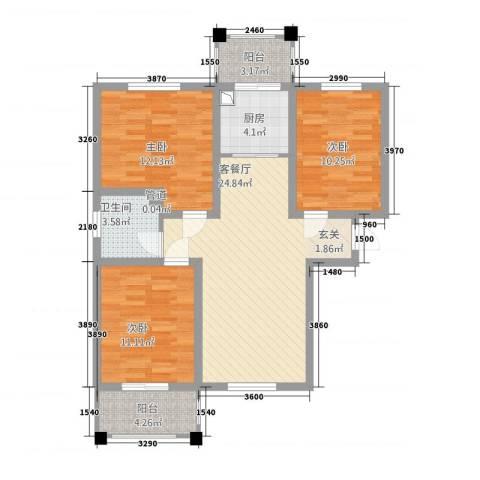 御秀园3室1厅1卫1厨73.46㎡户型图