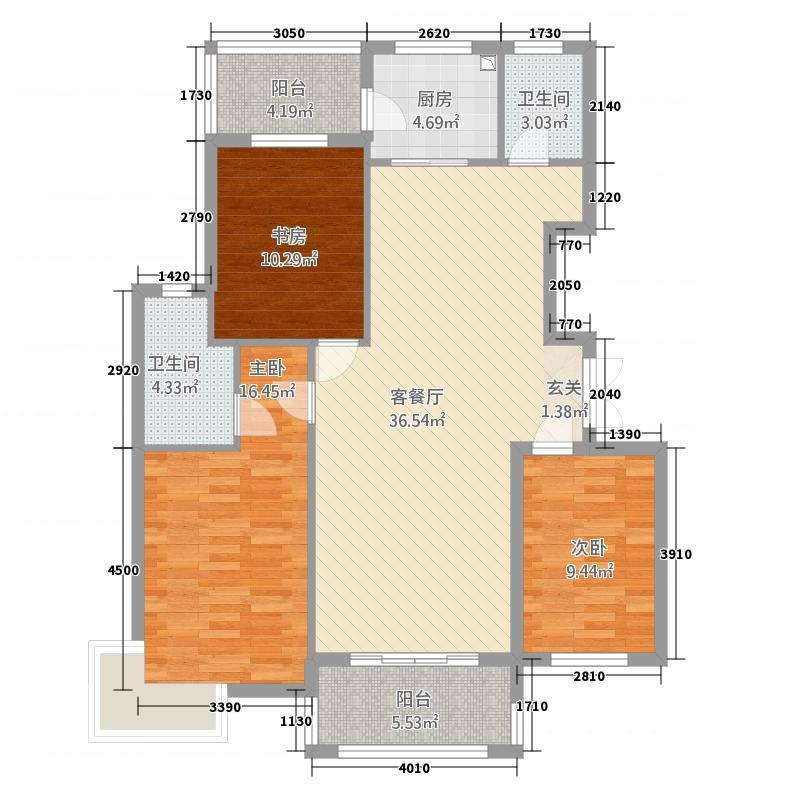 上海花园133.00㎡M户型3室2厅2卫1厨