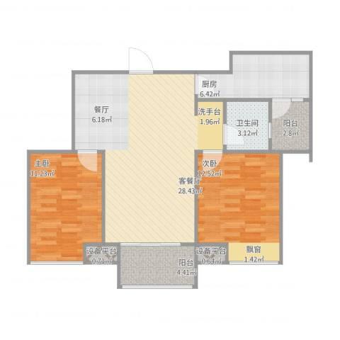 中铁滨湖名邸2室1厅3卫1厨95.00㎡户型图