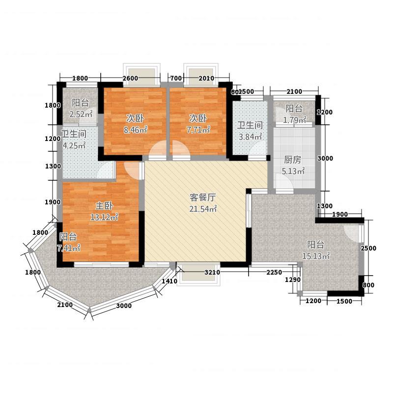 江都栋缤111.71㎡D户型3室2厅2卫