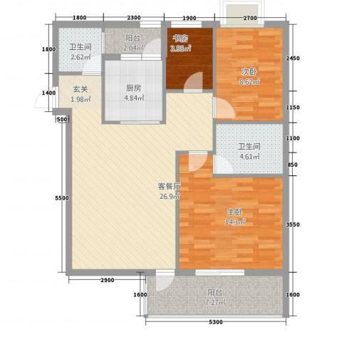 华信・海名轩3室1厅2卫1厨75.17㎡户型图