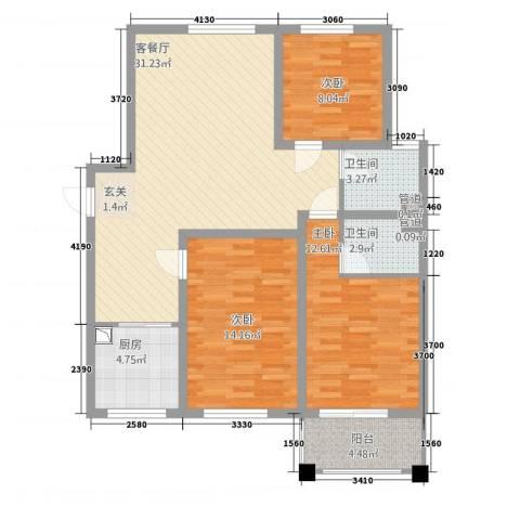 御秀园3室1厅2卫1厨81.77㎡户型图