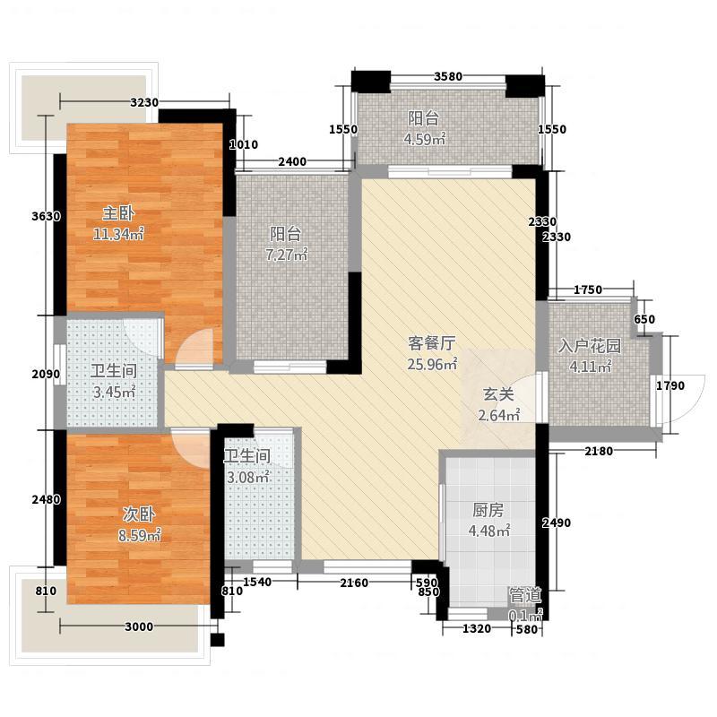 南湖花园105.00㎡南湖花园户型图C101户2+1房2室2厅2卫1厨户型2室2厅2卫1厨