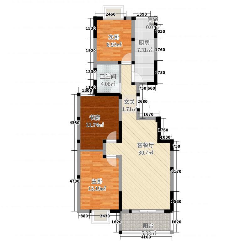 东方・金桂园117.87㎡户型3室2厅1卫1厨