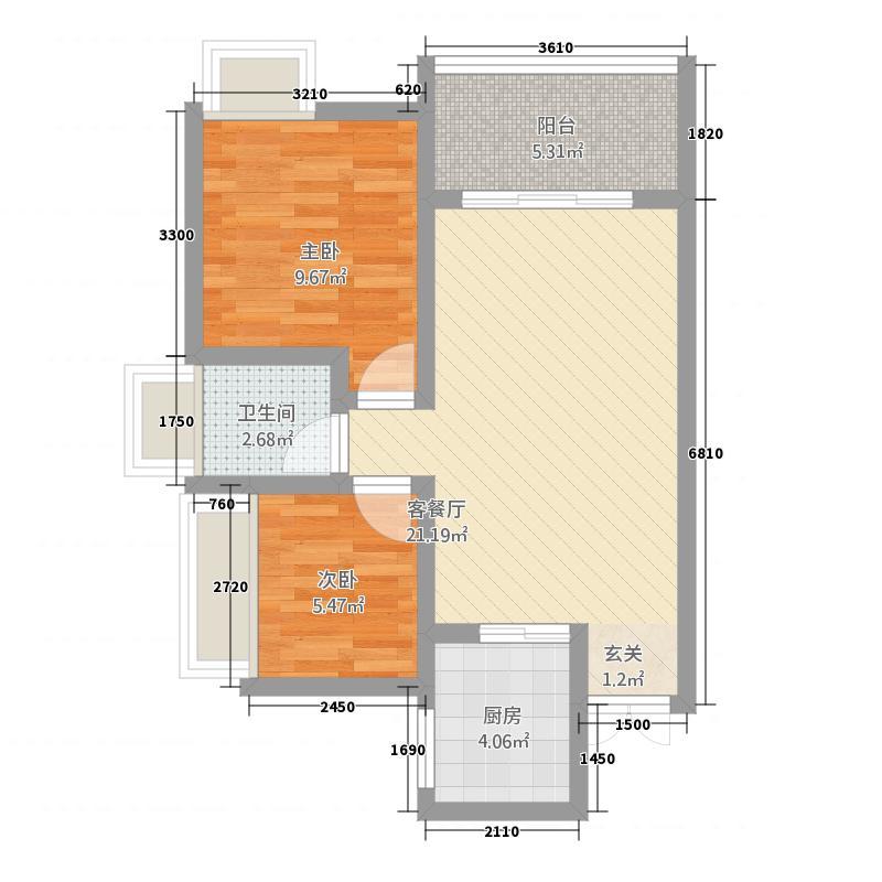 龙城一号22368.15㎡2号楼2#、3#户型2室2厅1卫1厨